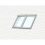Zwillings-Eindeckrahmen a = 18 mm 114 cm x 118 cm Verblechung Aluminium für flache Bedachungsmaterialien bis 16 mm (2x8 mm) Standard Einbauhöhe (rote Linie)