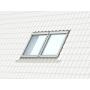 Zwillings-Eindeckrahmen a = 18 mm 134 cm x 160 cm Verblechung Titanzink für profilierte Bedachungsmaterialien bis 120 mm Standard Einbauhöhe (rote Linie)