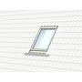 Einzeleindeckrahmen 114 cm x 140 cm Verblechung Titanzink für profilierte Bedachungsmaterialien bis 90 mm Vertiefte Einbauhöhe (blaue Linie)