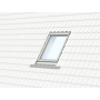 Profiset inkl. EDJ / BDX / BFX 55 cm x 98 cm Verblechung Aluminium für profilierte Bedachungsmaterialien bis 90 mm Vertiefte Einbauhöhe (blaue Linie)