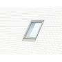 Einzeleindeckrahmen 134 cm x 140 cm Verblechung Titanzink für flache Bedachungsmaterialien bis 16 mm (2x8 mm) Vertiefte Einbauhöhe (blaue Linie)