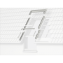 Eindeckrahmen (Fenster + VIU/VFE) 114 cm x 118 cm Verblechung Kupfer für flache Bedachungsmaterialien bis 16 mm (2x8 mm) Vertiefte Einbauhöhe (blaue Linie)