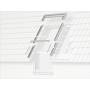 Eindeckrahmen (Fenster + VIU/VFE) 134 cm x 140 cm Verblechung Titanzink für flache Bedachungsmaterialien bis 16 mm (2x8 mm) Vertiefte Einbauhöhe (blaue Linie)