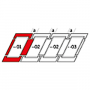 Kombi-Eindeckrahmen a = 100 mm 114 cm x 160 cm Verblechung Aluminium für flache Bedachungsmaterialien bis 16 mm (2x8 mm) Standard Einbauhöhe (rote Linie)