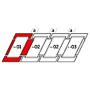 Kombi-Eindeckrahmen a = 100 mm 134 cm x 160 cm Verblechung Kupfer für flache Bedachungsmaterialien bis 16 mm (2x8 mm) Standard Einbauhöhe (rote Linie)