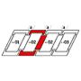 Kombi-Eindeckrahmen a = 100 mm 134 cm x 140 cm Verblechung Titanzink für profilierte Bedachungsmaterialien bis 120 mm Standard Einbauhöhe (rote Linie)