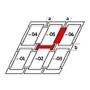 Kombi-Eindeckrahmen a = 100 mm / b = 250 mm 66 cm x 98 cm Verblechung Kupfer Standard Einbauhöhe (rote Linie)