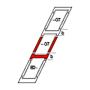 Kombi-Eindeckrahmen b = 250 mm 114 cm x 70 cm Verblechung Aluminium für flache Bedachungsmaterialien bis 16 mm (2x8 mm) Standard Einbauhöhe (rote Linie)