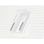 Eindeckrahmen (Fenster + GIL/GIU) h = 95 cm Verblechung Kupfer für flache Bedachungsmaterialien bis 16 mm (2x8 mm) Vertiefte Einbauhöhe (blaue Linie)