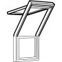 Dachbalkon oben 78 cm x 140 cm Kiefernholz weiss lackiert Verblechung Kupfer Verglasung 3-fach Thermo 2