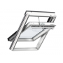 Schwingflügelfenster Holz 94 cm x 98 cm Kiefernholz weiss lackiert Verblechung Aluminium Verglasung 3-fach Thermo 2 Plus das Dachfenster für die Schweiz VELUX INTEGRA® Solar automatisiert