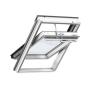Schwingflügelfenster Holz 55 cm x 118 cm Kiefernholz weiss lackiert Verblechung Aluminium Verglasung 3-fach Thermo 2 Plus das Dachfenster für die Schweiz VELUX INTEGRA® Solar automatisiert