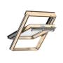 Schwingflügelfenster Holz 55 cm x 70 cm Kiefernholz klar lackiert Verblechung Aluminium Verglasung 3-fach Thermo 2 Plus das Dachfenster für die Schweiz