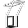 Dachbalkon Tür links 78 cm x 109 cm Kiefernholz klar lackiert Verblechung Titanzink Verglasung 3-fach Thermo 2