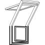 Dachbalkon Tür rechts 78 cm x 109 cm Kiefernholz weiss lackiert Verblechung Kupfer Verglasung 3-fach Thermo 2