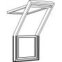 Dachbalkon fest 78 cm x 109 cm Kiefernholz weiss lackiert Verblechung Kupfer Verglasung 3-fach Thermo 2